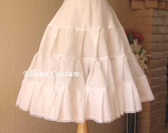 READY to SHIP. Cotton Tea Length Crinoline. Little Fullness Petticoat. Size S.
