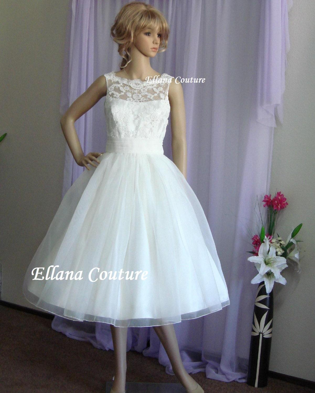 Vintage Wedding Dresses Etsy: Sandra Beautiful Vintage Inspired Tea Length Wedding Dress