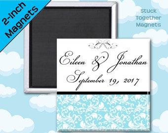 Wedding Favor Magnets - Elegant Blue - 2 Inch Squares - Set of 10 Magnets