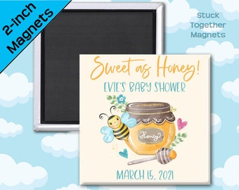 Set of TEN Bee Baby Shower Favor Magnets - 2 Inch Square Magnets