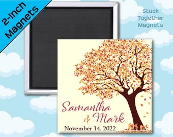Set of 10 Fall Wedding Favor Magnets - Tree in Autumn Colors - 2 Inch Squares