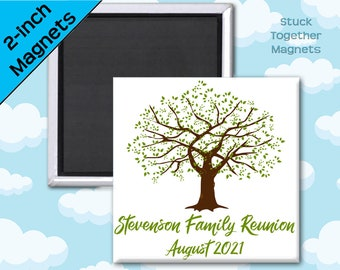 Set of 10 Family Reunion Favor Magnets - Family Tree - 2 Inch Square Magnets