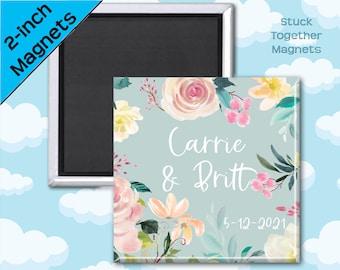 Set of TEN Wedding Favor Magnets - Mint Floral - 2 Inch Square Magnets