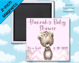 Set of TEN Baby Shower Magnets - Pink Vintage Bear - 2 Inch Square Magnets