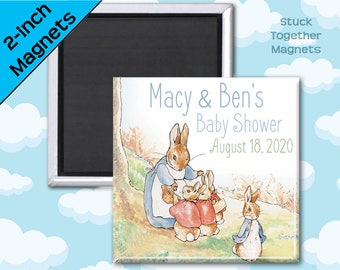 Set of TEN Peter Rabbit Baby Shower Magnet Favors - 2 Inch Square Magnets