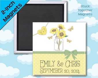 Country Wedding Favor Magnets - Mason Jar with Sunflowers - 2 Inch Squares - Set of 10 Magnets