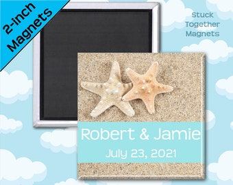 Set of 10 Starfish Wedding Favor Magnets - 2 Inch Squares
