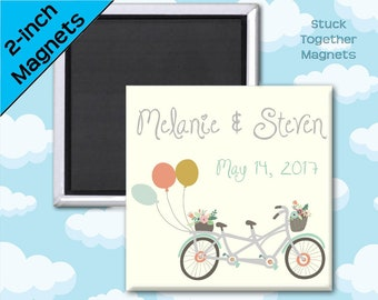 Wedding Favor Magnets - Bike for Two - 2 Inch Squares - Set of 10 Magnets
