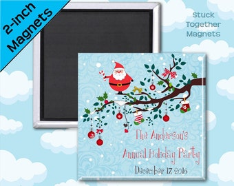 Holiday Party Favor Magnets - Santa  - 2 Inch Squares - Set of 10 Magnets