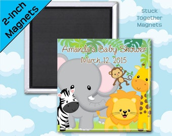 Set of 10 Safari Animals Baby Shower Favor Magnets - 2 Inch Square Magnets
