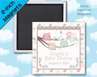Owl Baby Shower Favors - 2 Inch Squares - Set of 10 Magnets