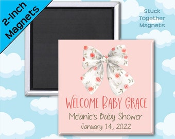 Set of TEN Baby Shower Magnets - Baby Girl Floral Bow - 2 Inch Square Magnets