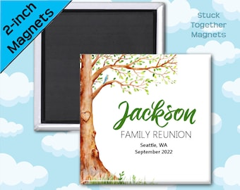 Set of TEN Family Reunion Magnet Favors - 2 Inch Square Magnets - Tree