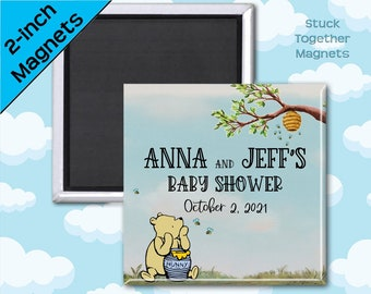 Set of TEN Winnie the Pooh Baby Shower Magnets - 2 Inch Magnets