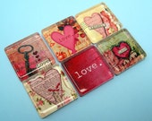 Love Magnets - Hearts - Inch Square Glass - Set of Six