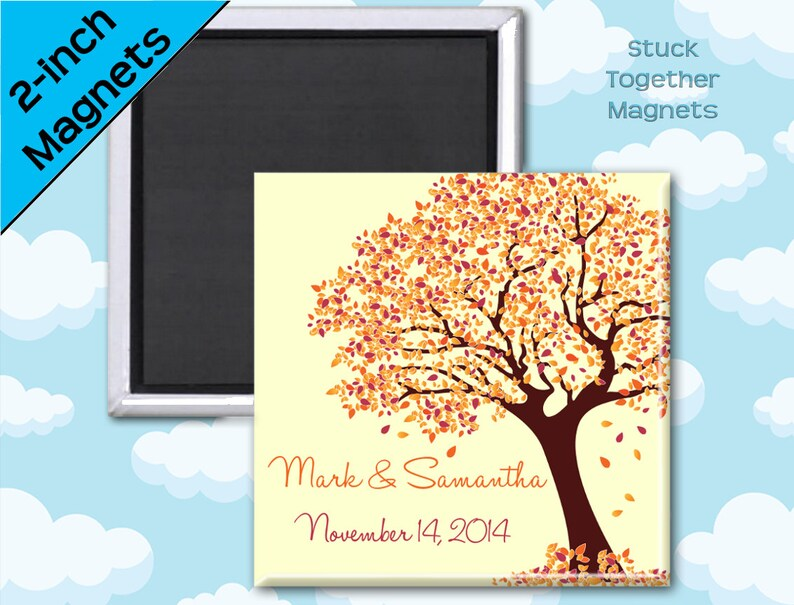 Fall Wedding Favor Magnets  Tree in Autumn Colors  2 Inch image 0