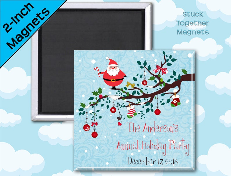 Holiday Party Favor Magnets  Santa   2 Inch Squares  Set of image 0