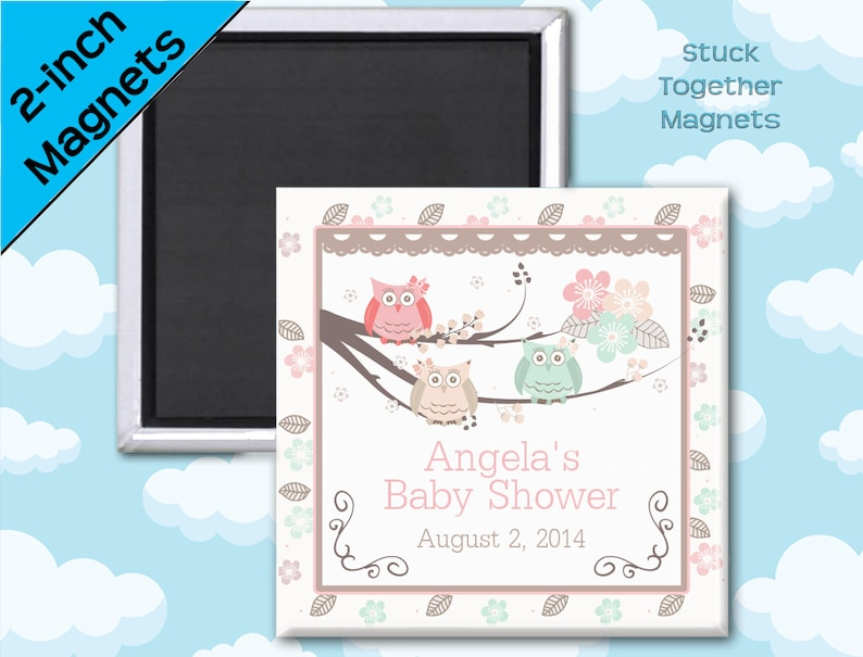 Owl Baby Shower Favors  2 Inch Squares  Set of 10 Magnets image 0