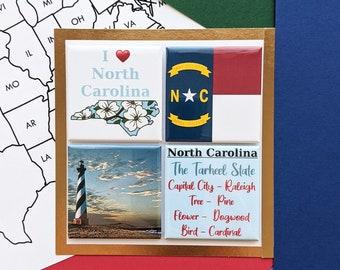 North Carolina Magnet Set - Cape Hatteras - Set of Four Magnets - State Magnets