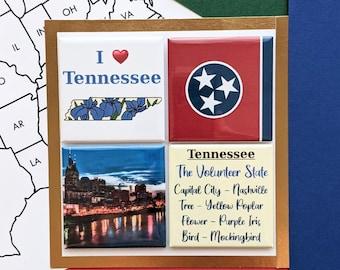 Tennessee Magnets - Nashville Skyline - Set of Four Magnets - State Magnets