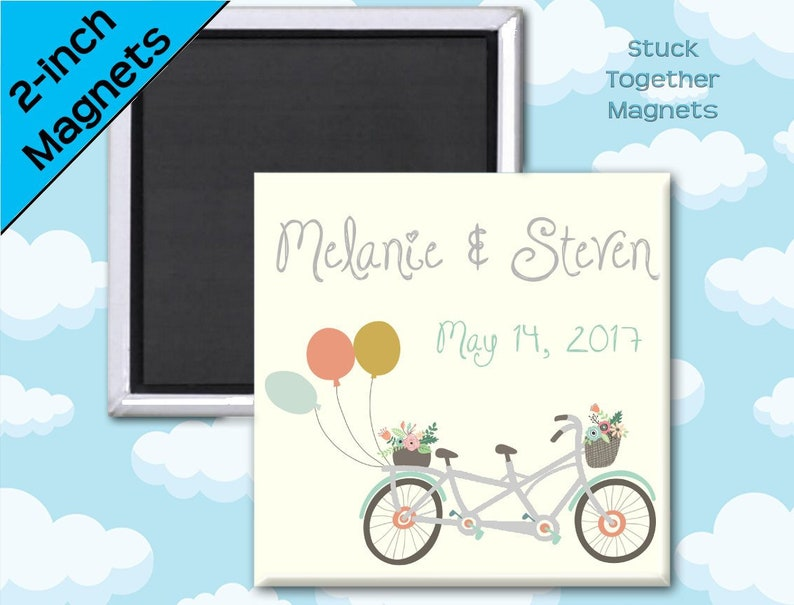 Wedding Favor Magnets  Bike for Two  2 Inch Squares  Set of image 0