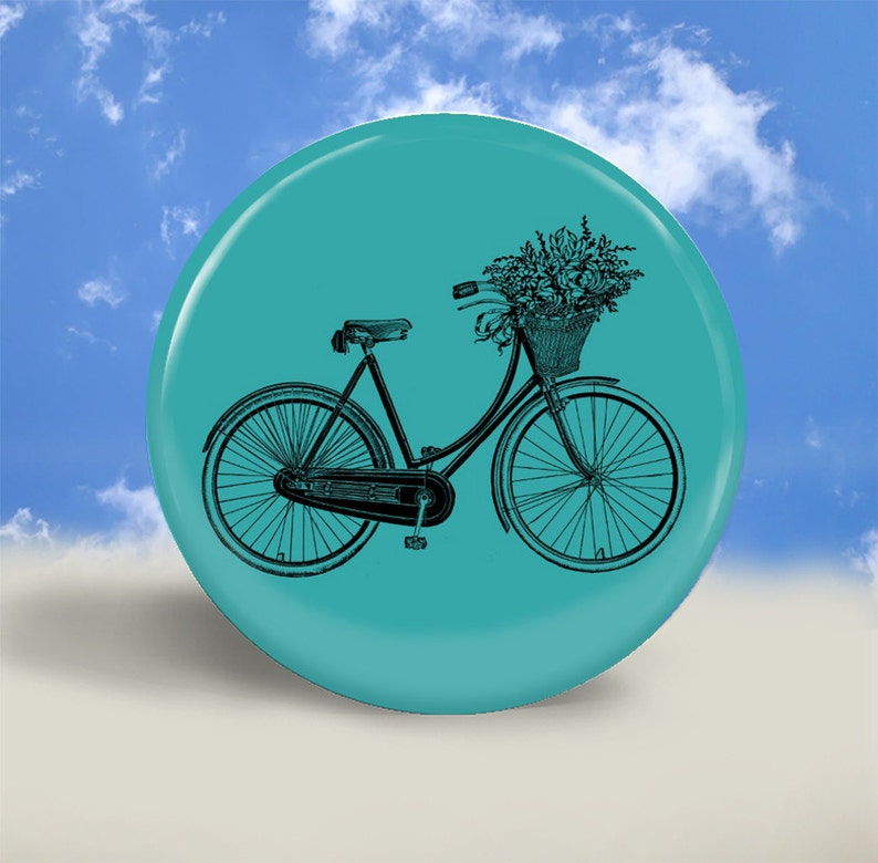 Pocket Mirror Magnet or Pinback Button  Bike with Basket  image 0