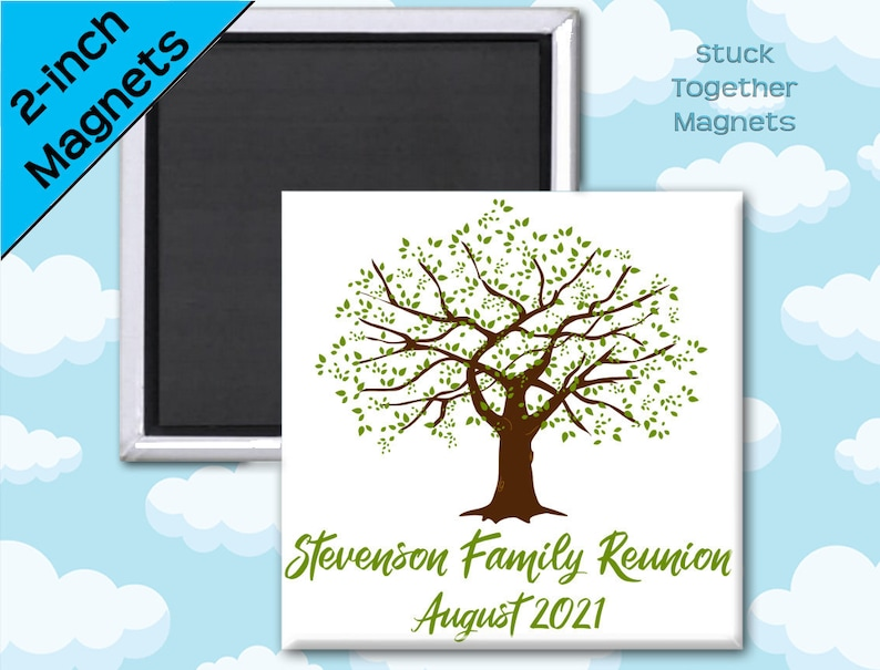 Set of 10 Family Reunion Favor Magnets  Family Tree  2 Inch image 0