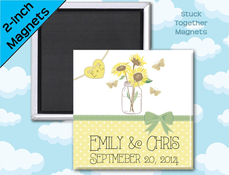 Country Wedding Favor Magnets  Mason Jar with Sunflowers  2 image 0