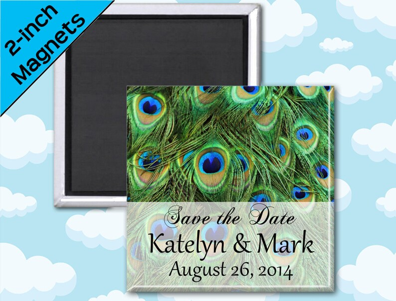 Peacock Feather Wedding Favors Magnets  2 Inch Squares  Set image 0