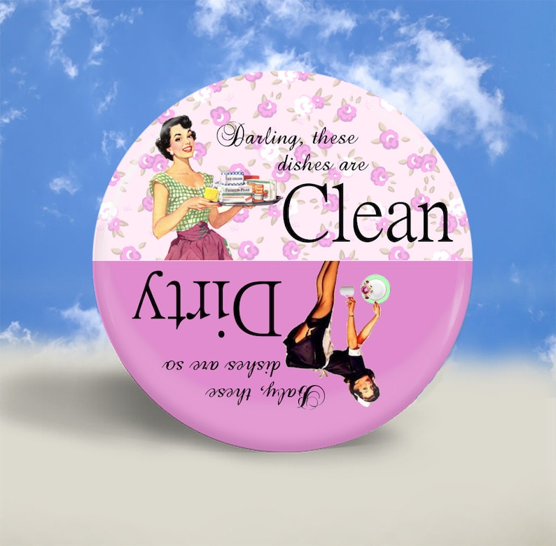 Pin Up and Housewife Clean Dirty Dishwasher Magnet  Pretty image 0