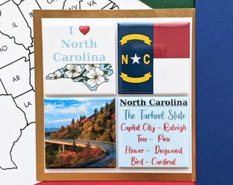 North Carolina Magnets - Blue Ridge Parkway - Set of Four Magnets - State Magnets