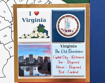 Virginia Magnets - Richmond Skyline - Set of Four Magnets - State Magnets