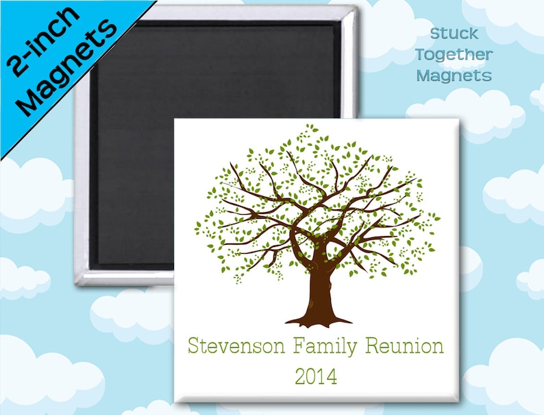 Family Reunion Favors  Magnets  2 Inch Squares  Set of 10 image 0