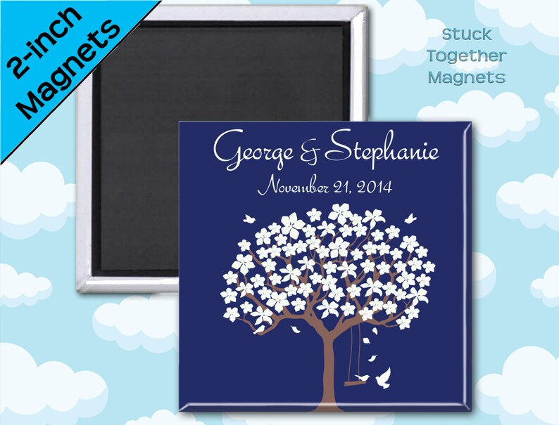 Romantic Navy Favor Magnets  Tree with Love Birds  2 Inch image 0