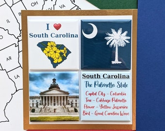 South Carolina Magnets - Columbia Statehouse - Set of Four Magnets - State Magnets