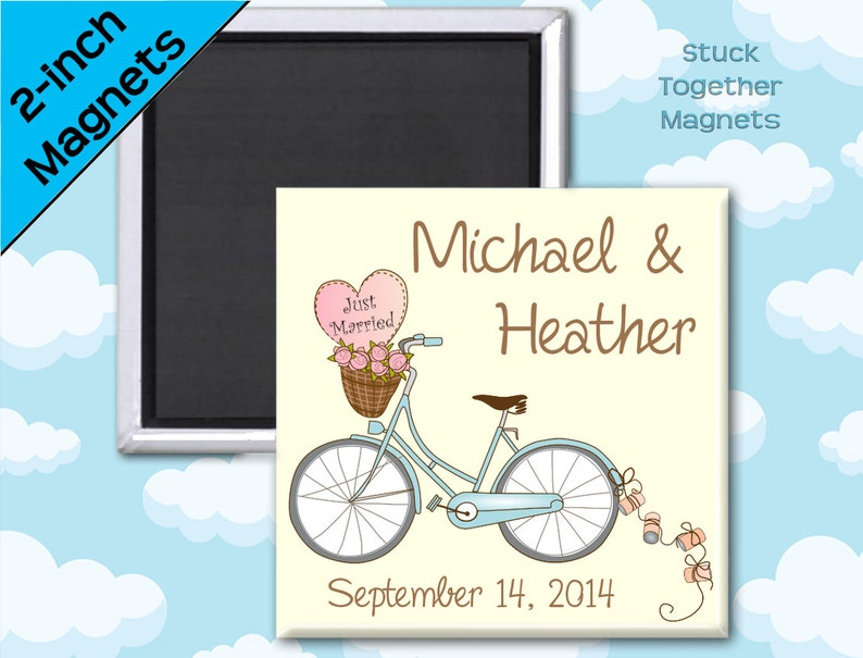 Set of TEN Wedding Favor Magnets  Romantic Bike  2 Inch image 0