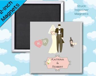 Wedding Favor Magnets - Art Deco Bride and Groom - 2 Inch Squares - Set of 10 Magnets