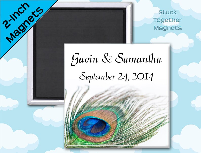 Peacock Feather Wedding Favor Magnets  2 Inch Squares  Set image 0