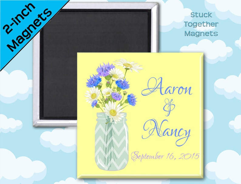 Set of Ten 2 Inch Square Magnets Mason Jar and Daisy Magnets Summer Wedding Favors