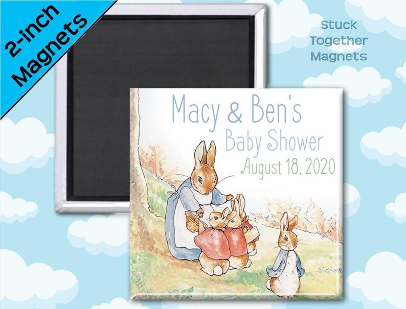 Set of TEN Peter Rabbit Baby Shower Magnet Favors  2 Inch image 0