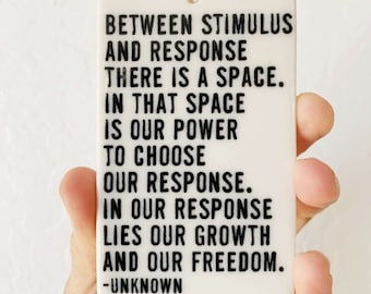 porcelain wall tag screenprinted text between stimulus and response ...