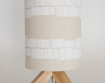 "Drum lamp shade 18cm / 7"" Linear white unbleached"