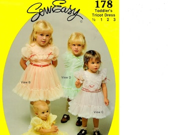 Sew Easy Pattern 178 Toddler's Tricot Dress Pattern, pattern, Girls Dress, Fancy Dress Pattern, Sizes 6 months, 1, 2, 3,