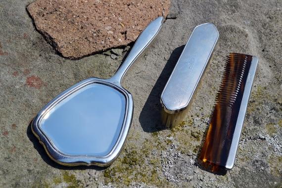 Art Deco Sterling Silver Vanity Set, Dressing Table Brush Comb Mirror Set
