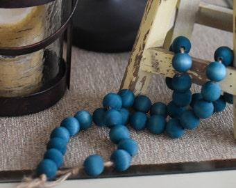 Wooden Bead Garland - Natural Wooden Ball Garland - Dyed Wooden Bead Garland - Aqua Teal Bead Garland-  Wooden Ball Garland Aqua Blue Dyed
