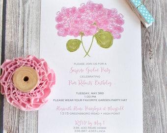 Hydrangea Bridal Shower Invitation / Personalized Bridal Shower Invite / Baby Shower Invititation / Hydrangea Spring Party Invitation