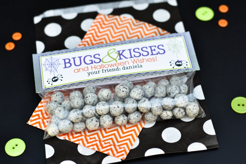 Halloween Treat Bag Topper / Bugs and Kisses Treat Bag Toppers image 0