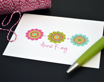 Personalized Stationery / Personalized Stationary / Personalized Note Cards / Stationery Set - Funky Flower Design