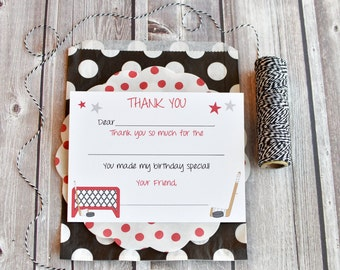 Hockey Kids Fill In the Blank Thank You Notes / Hockey Thank You Notes / Childrens Thank You Note Cards / Fill In The Blank Hockey Design