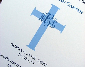 Boys Baptism Invitations / Baptism Invitation/ Baptism Invite/ Boys Christening Invitation/ Personalized Blue Cross Design